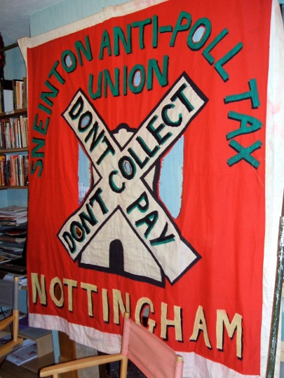 Sneinton anti-poll tax banner at the Sparrows' Nest archive