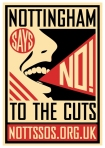 Notts SOS poster - 'No to the cuts' nottssos.org.uk