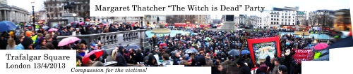 Trafalgar Square Thatcher Death Party panoramic composite photo from 13th April 2013