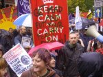 Banner in Birmingham - 'Keep Calm and Carry On' replaced with 'Get Mad and Put Your Foot Down!'