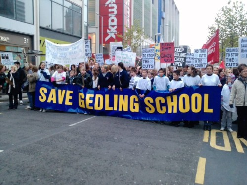 Save Gedling School campaign on the Notts SOS march in Nottingham, 20th November 2010, with banner
