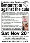Image of Notts SOS Flyer for November 20th demo - same as PDF