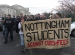 Nottingham university students demonstrate 24th Nov 2010 against cuts and fees
