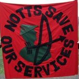 Notts Save Our Service banner used on demonstration