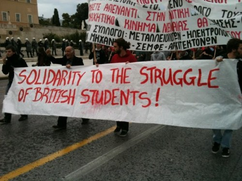 Solidarity march in Greece for British students' action