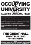 Front of leaflet explaining continued occupation of Great Hall at University of Nottingham (Trent Building)