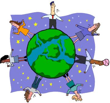 Cartoon picture of people on a globe speaking different languages - ESOL campaign