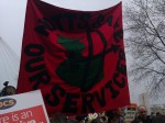 Notts SOS banner on the March 26th demonstration