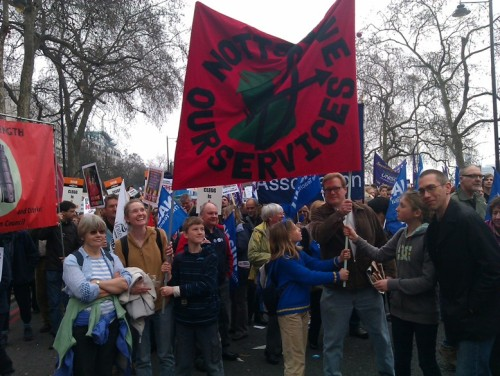 Notts SOS banner on the march, with a few of the Nottingham contingent