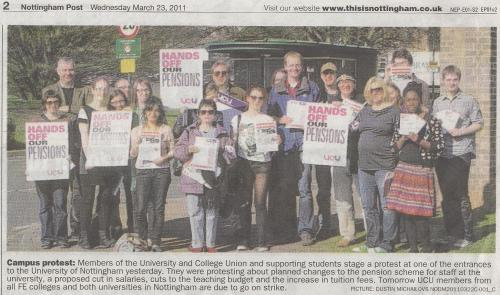 Press cutting with photograph in evening post of one UCU picket line taken on 22nd March