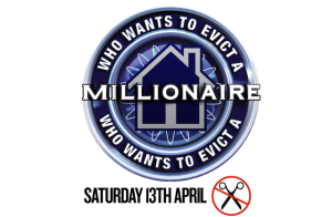 Who wants to evict a millionaire? - welfare cuts protest logo by UKuncut